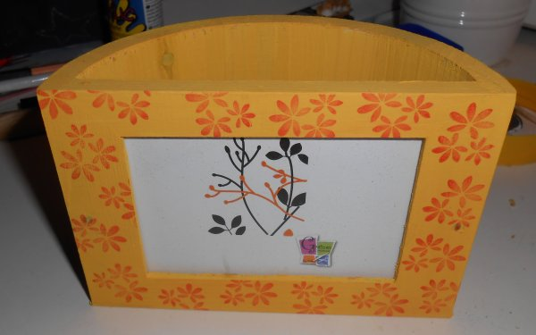 Porte-crayons avec support photo jaune
