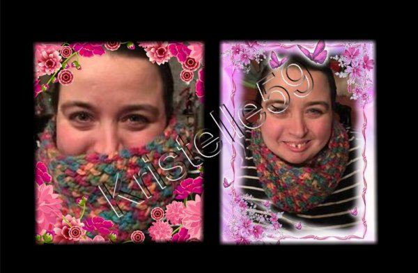 1er Snood  au tricotin Multicolore