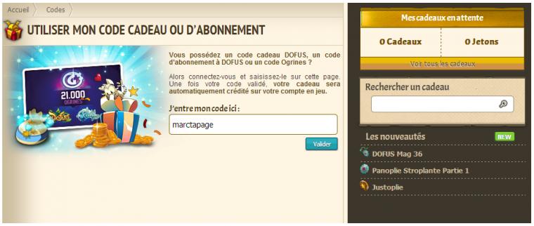 Code Dofus gratuit Abonnement