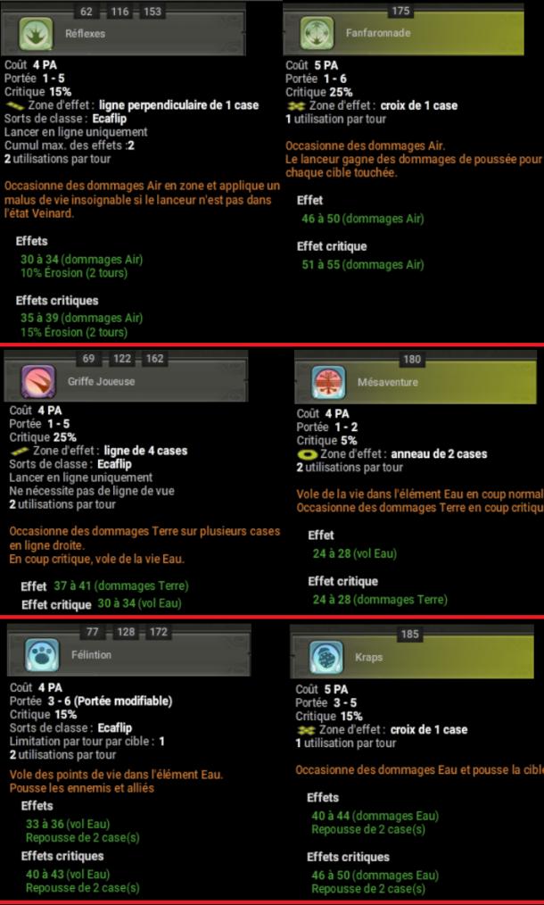 Les variantes de sorts de la classe Ecaflip