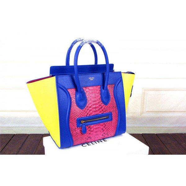 Celine Mini Serpentin Luggage 70Off Jaune Sac Rose Bleu XwPlOiukZT