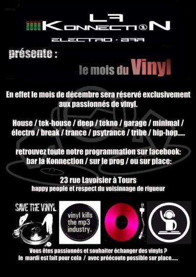 Vous êtes DJ confirmé ?? vous mixez sur VINYLS ??? il reste de la place pour venir faire jumper la konnection sur le style de votre choix au mois de décembre!!!!!!!!!  Set d'une heure trente maxi pour laisser de la place à tout le monde.... Résa sur planning au bar uniquement.  Du mercredi au samedi, et de 18h à 2h......  tous les mardi bourse aux vinyls avec préécoute possible sur place...