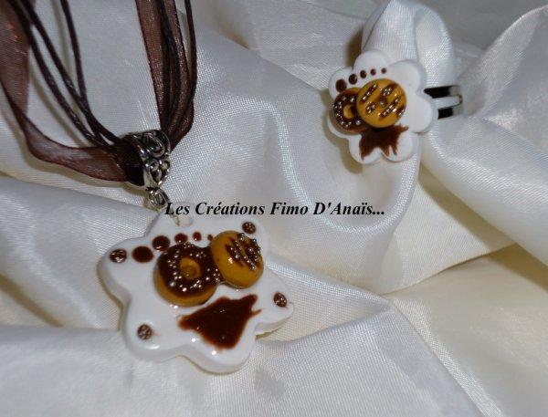 Parure assiette de donuts au chocolat