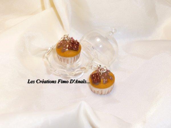 Boucles d'oreilles cupcakes chocolat ^^
