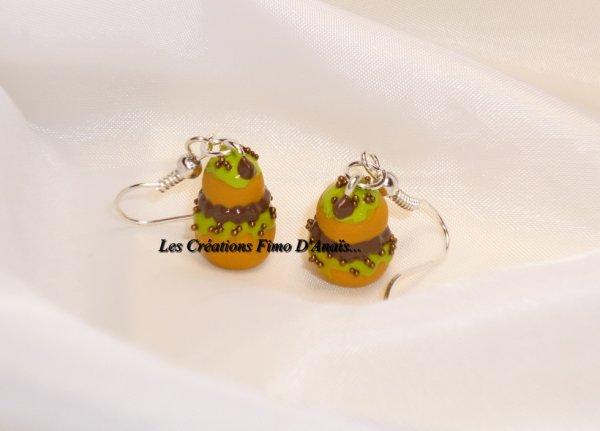 Boucles d'oreilles religieuses pistache chocolat