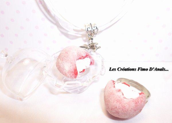 Collier et bague fraise tagada =)