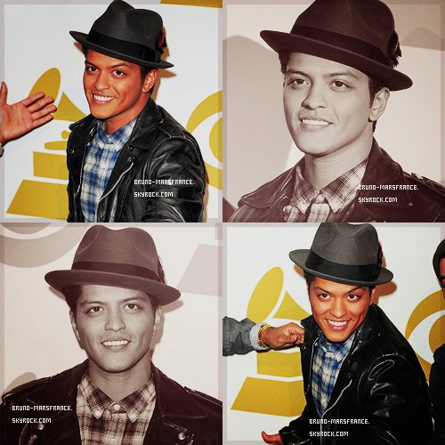 o3/12- Bruno Mars a reçu 6 Nominations au Grammy Awards 2012 :Record of The Year - GrenadeSong of The Year - GrenadePop Solo Performance - GrenadeAlbum of The Year - Doo-Wops & HooligansPop Vocal Album - Doo-Wops & HooligansProducer of The Year - The Smeezingtons