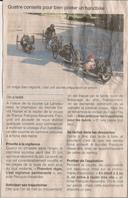 Presse de La Landaulaise #3. (Initiation handbike).