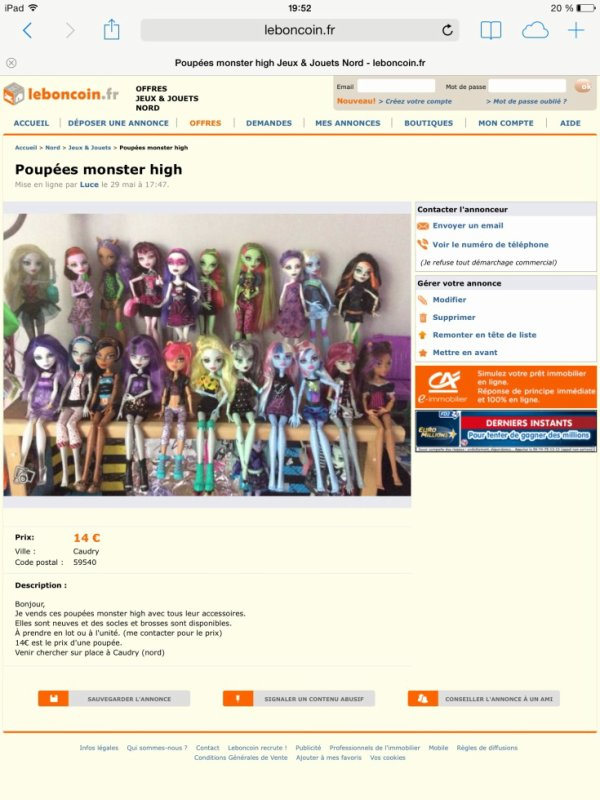 Monster high a vendre