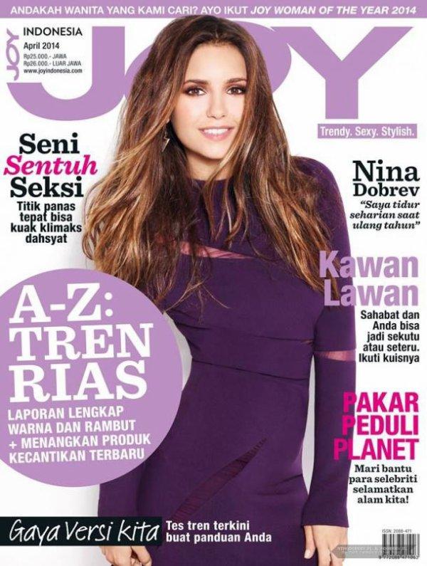 Nina Dobrev pétillante en couverture de Joy Magazine Indonésie