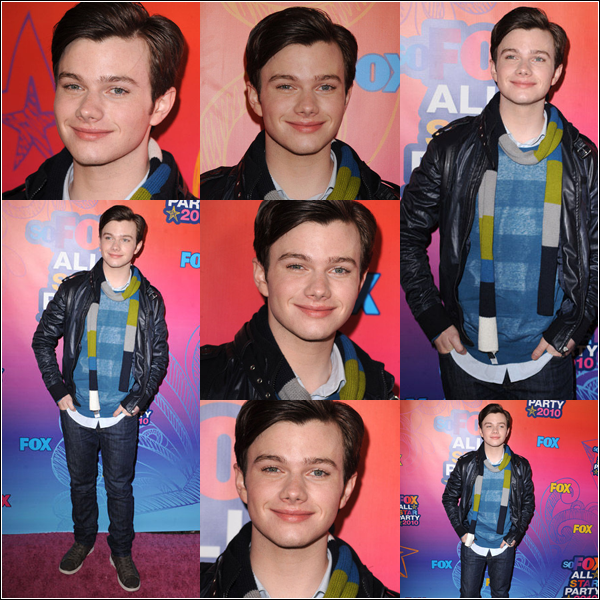 FLASHBACK    CHRIS SE TROUVAIT EN COMPAGNIE DE SES CO-STARS DE GLEE AU FOX 2010 ALL-STAR PARTY. TOP ou FLOP ?    Un BOF pour Monsieur car je n'aime pas trop son écharpe, ni son haut   :o  .