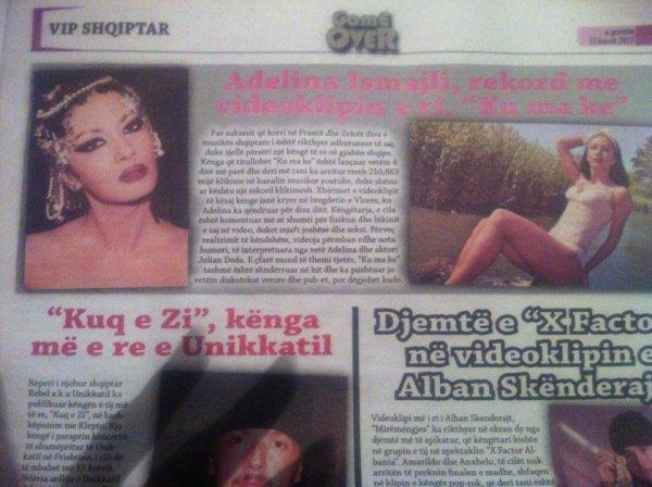 Adelina Ismaili rekord me videoklipin KU MA KE GAME OVER 2012