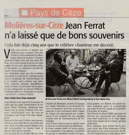 2015) Jean FERRAT n'a laissé que de bons souvenirs