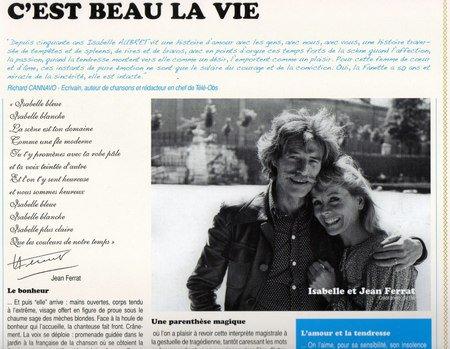1975) Hommage dédicacée de Jean FERRAT à Isabelle AUBRET