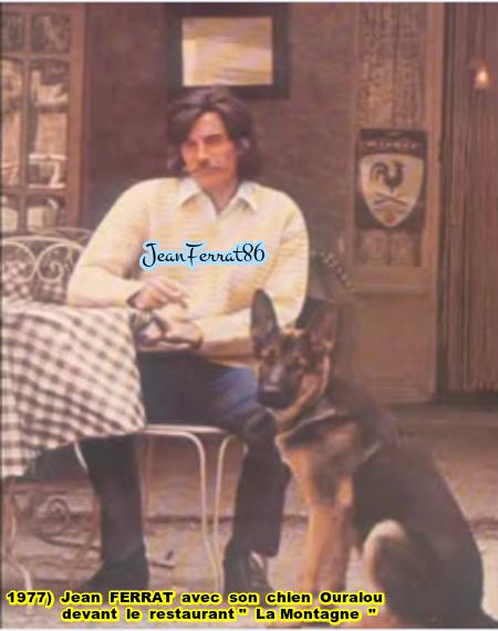 """1977) Jean FERRAT devant le Bar-Restaurant  """" La montagne """""""