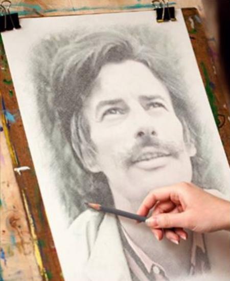 Portrait au crayon de Jean FERRAT ( trouver sur le net)