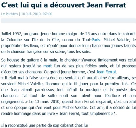 """2010) Livre """" Jean FERRAT tout simplement """" de Michel VALLETTE  ( 1ère édition édition ) Juin 2010"""