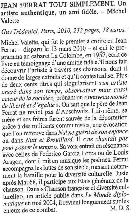 """2010)  Livre """" Jean FERRAT tout simplement """" de Michel VALLETTE  ( 2ème édition )"""