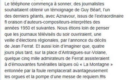 """Livre """" Jean FERRAT -  Le chant d'un révolté """"( n°1) de Robert BELLERET  ( le 2 Mars 2011 )"""