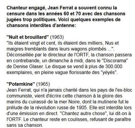 1960-1970)  CENSURE POUR JEAN FERRAT