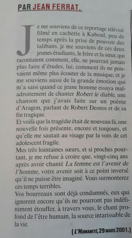 2001)  Article de Jean FERRAT (L'humanité du 29 Mars 2001)