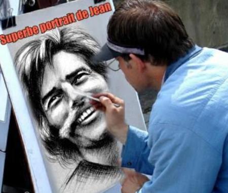 Caricaturiste à l'oeuvre sur Jean FERRAT