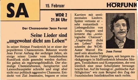 1980)  ARTICLE DE PRESSE ALLEMANDE SUR JEAN FERRAT