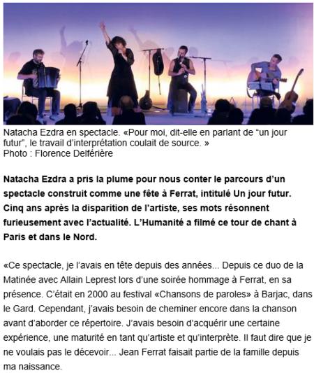 2009 )  Un jour futur..... L'histoire d'un spectacle de Natacha EZDRA comme pour une fête à Jean FERRAT