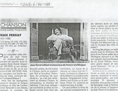 1988) Article de Jean FERRAT dans le Télérama n° 2008 de 1988