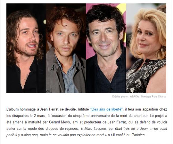 2015) Jean FERRAT : Hommage par des artistes avec un album en mars 2015