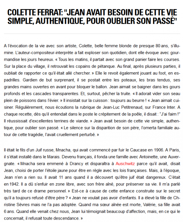2015) Colette FERRAT '' JE N'AI RIEN CONNU DE PLUS BEAU QUE NOTRE AMOUR ''