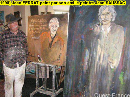 1998)  Jean  FERRAT  peint par son ami artiste peintre Jean SAUSSAC