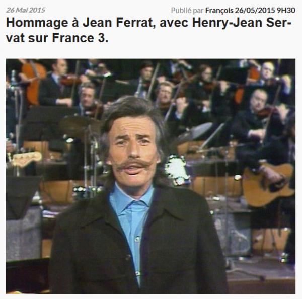 2015) Hommage à Jean FERRAT sur FR3 le lundi 8 Juin à 20H45