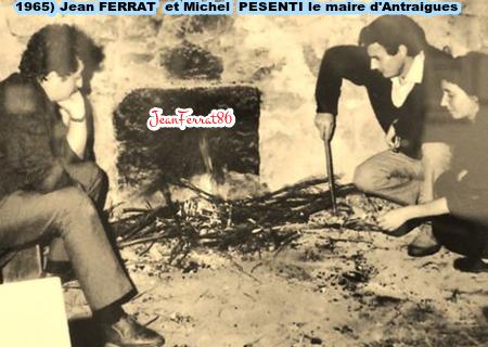 1965) Jean FERRAT avec Michel PESENTI le maire d'Antraigues