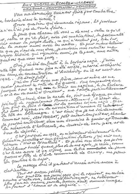 1991)  Jean  FERRAT adresse une lettre aux élèves des collèges De Oradour-sur-Glane, de Saint-Junien, et de Vénissieux, concernant les camps de concentration et la barbarie Allemande