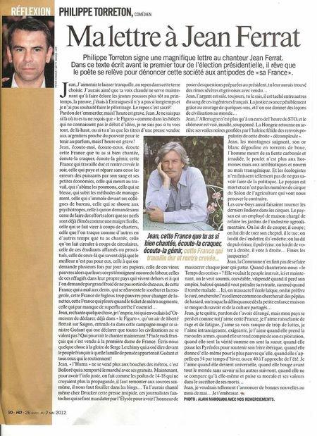 """2012) Philippe TORRETON   """"Ma lettre à Jean FERRAT  """""""