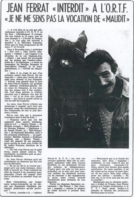 """1969)  Article de presse """" Jean FERRAT   INTERDIT """" à la télévison"""