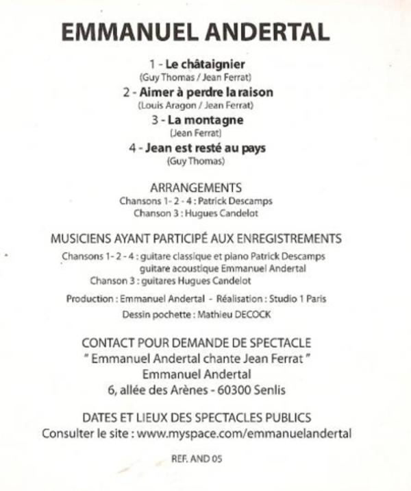 1996) Emmanuel ANDERTAL chante FERRRAT - Le p'tit jardin