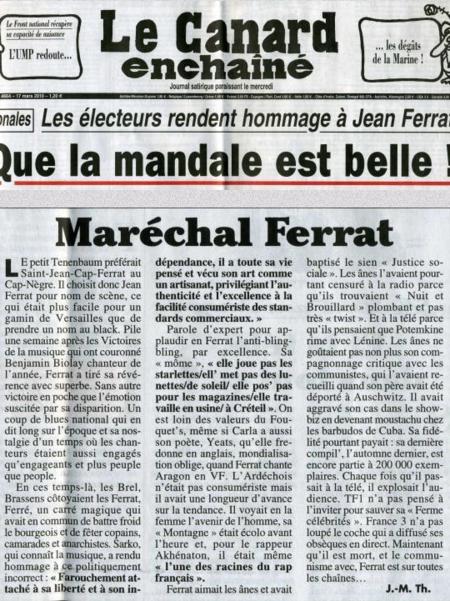 """2010)  Article de presse du Canard Enchaîné  """"  Maréchal FERRAT  """" du 14 Mars 2010"""