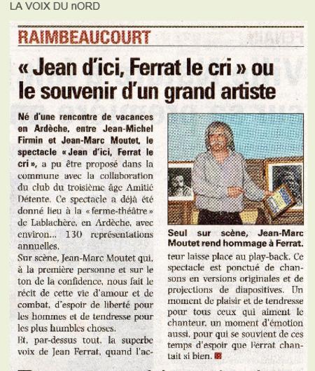 """2014)  Article de presse de  """" La Voix du Nord """""""