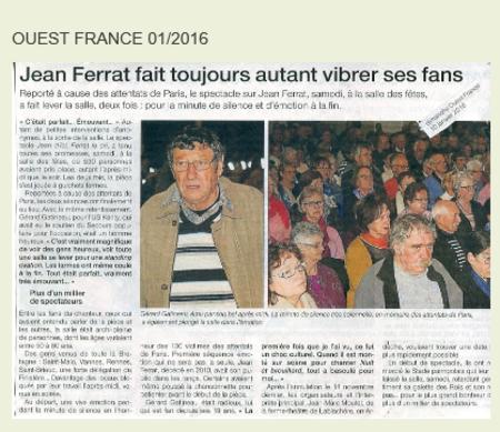 """2016)  Article de presse de  """" Ouest-France """" sur le spectacle Jean d'ici FERRAT le cri en janvier 2016"""
