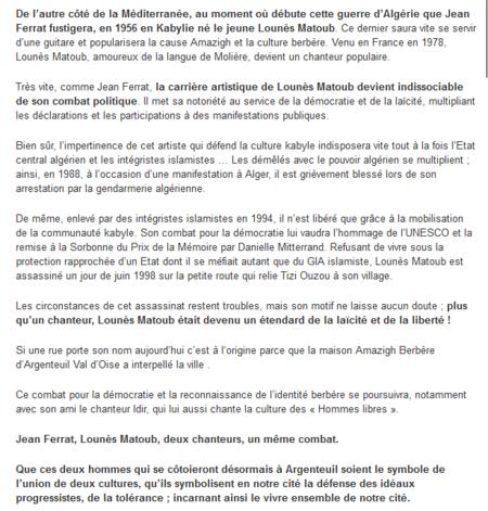 2013) Jean FERRAT, Matoub Lounès : Deux chanteurs, un combat !