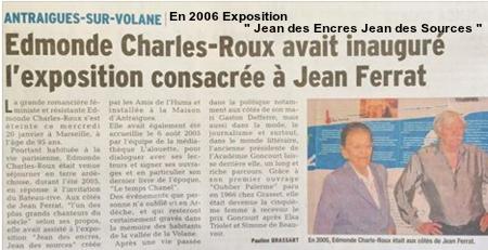 """2004) Exposition  """" Jean des Encres Jean des Sources """""""