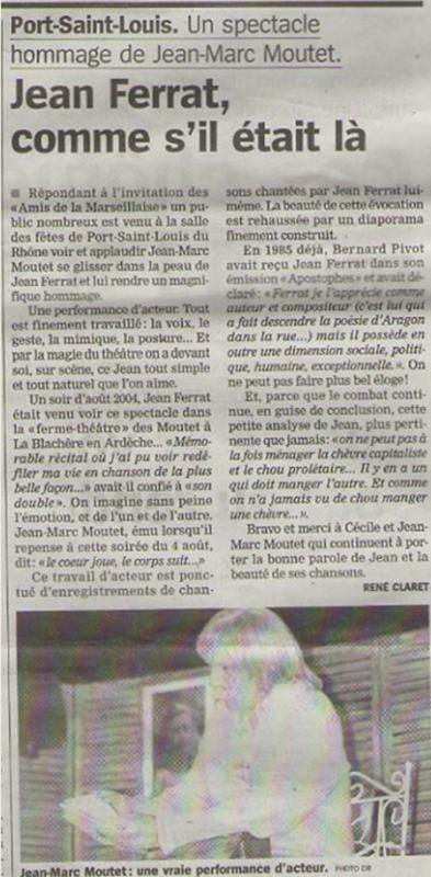 """2015) Article de presse du Spectacle """" Jean d'ici FERRAT le cri """" à Port-Saint-Louis-du-Rhône (13230)"""