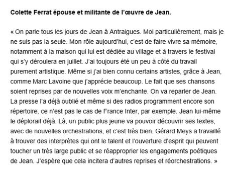 """2015)  Colette FERRAT  """" Jean, sur de nouvelles voix """""""