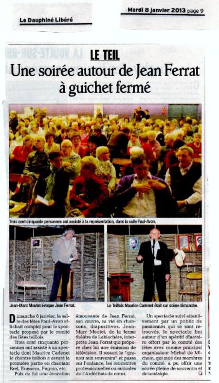 """2013)  Article du Dauphiné Libéré du 8 Janvier 2013 sur le spectacle """" Jean d'ici FERRAT le cri """""""