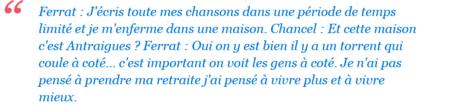 1976)  Jacques CHANCEL interview Jean FERRAT + chanson (mon chant est un ruisseau) de (1975) à  FRANCE BLEU DRÔME ARDECHE