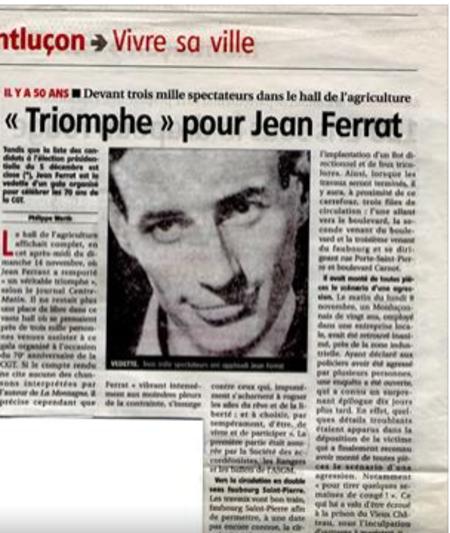 """1966) Article de presse de """" La Montagne """"  triomphe pour Jean FERRAT"""