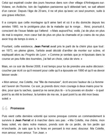 "2015) Article de presse "" Jean FERRAT : SA DERNIERE LETTRE A SA FEMME  """