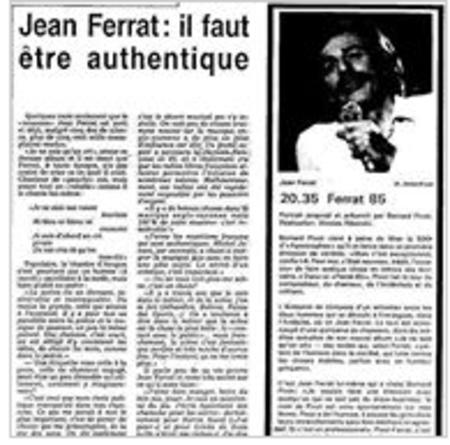 1985) Article de presse sur Jean FERRAT